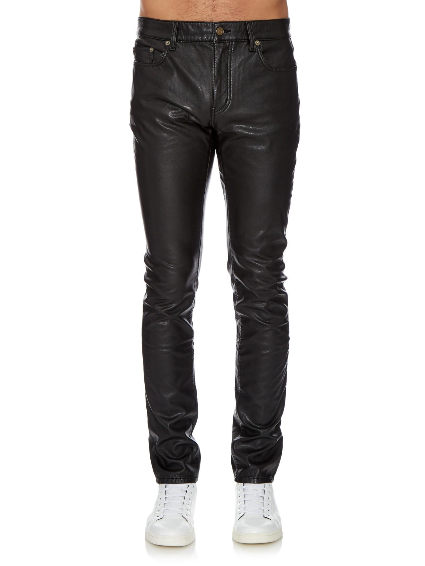 slim fit leather trousers - Black Saint Laurent iZBSVhmQu