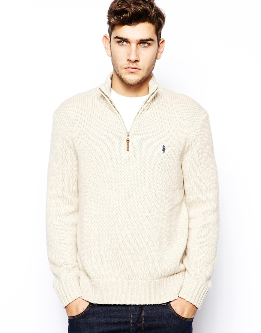 Polo ralph lauren Cotton Half-Zip Sweater in Natural for Men | Lyst