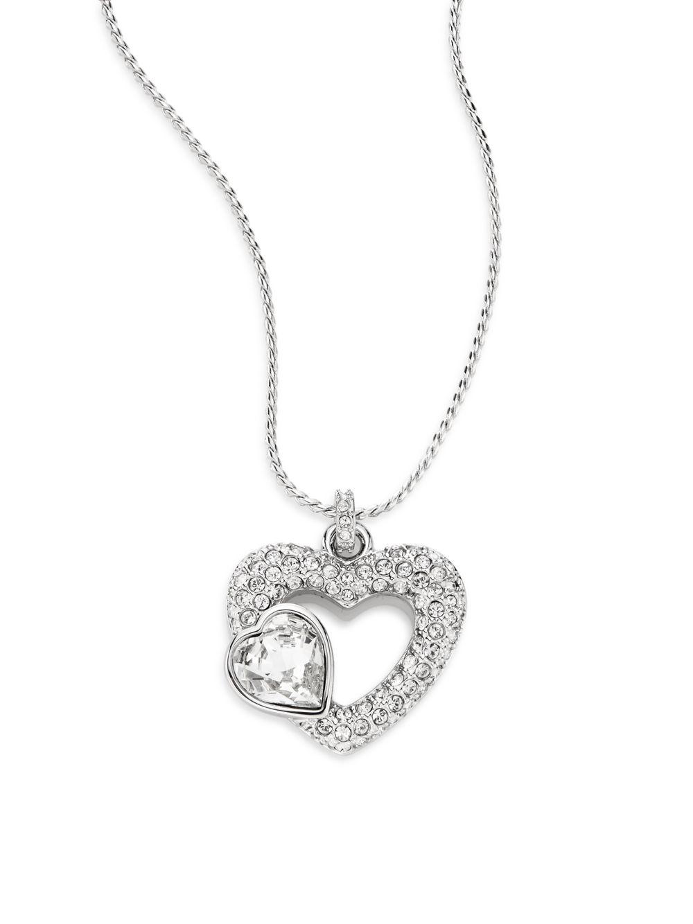 swarovski emotion crystal double heart pendant necklace in. Black Bedroom Furniture Sets. Home Design Ideas