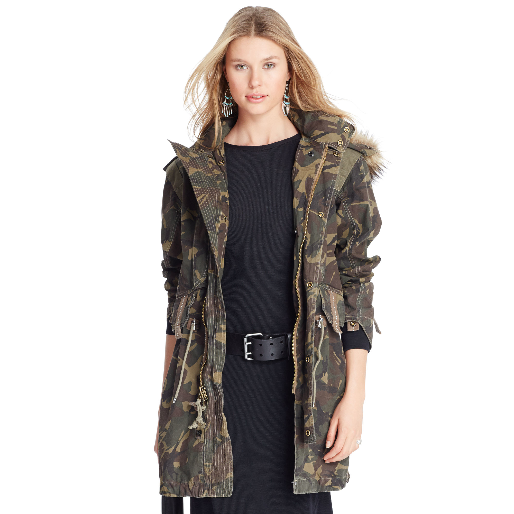 Lyst - Polo Ralph Lauren Camouflage Hooded Utility Coat in ...