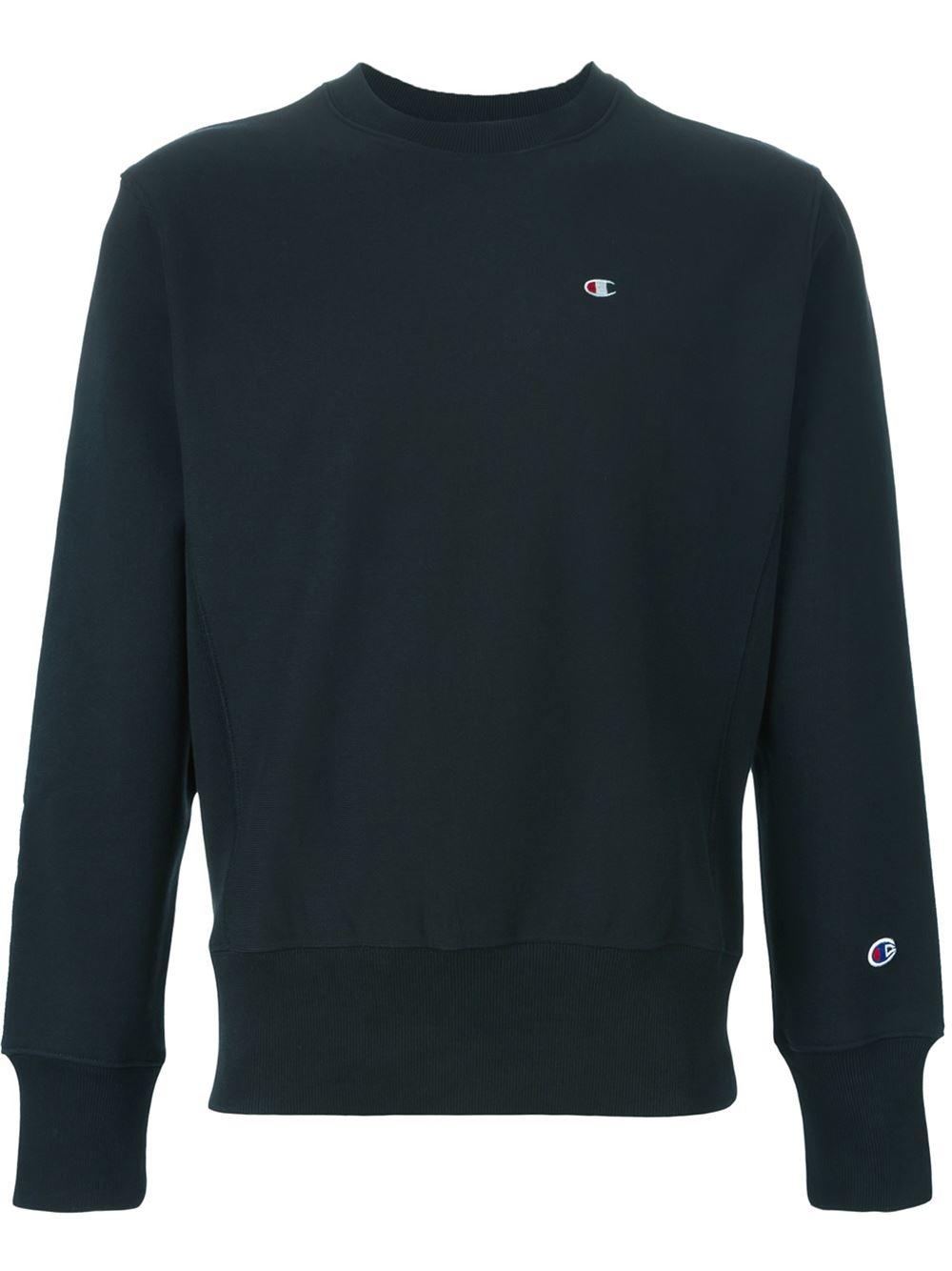 Champion Crew Neck Sweatshirt In Black For Men Lyst