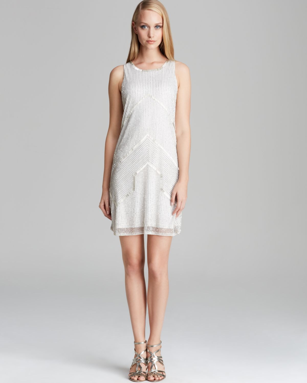 Adrianna papell Sleeveless Sequin Dress in White  Lyst