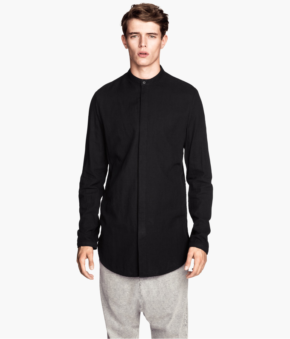 h m shirt in a linen blend in black for lyst