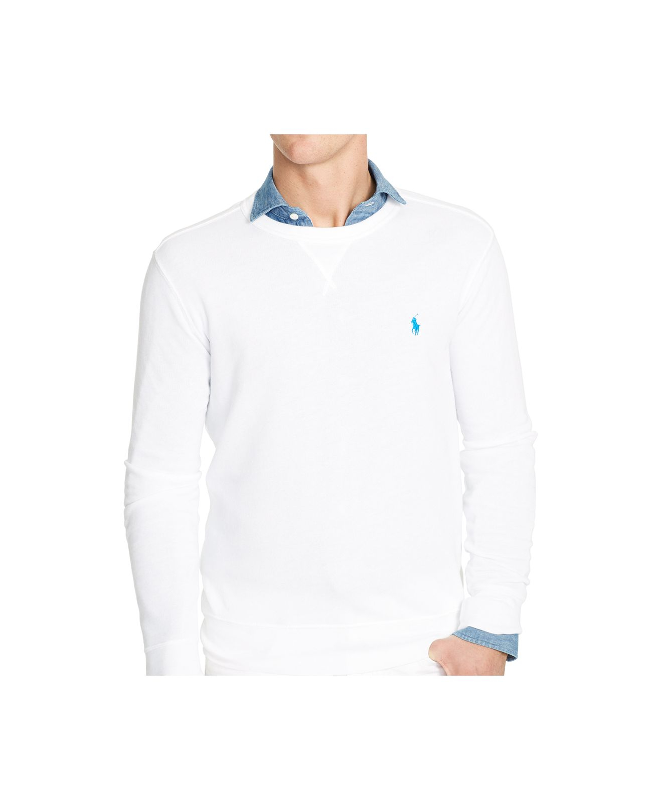 polo ralph lauren terry crew neck pullover in white for men lyst. Black Bedroom Furniture Sets. Home Design Ideas