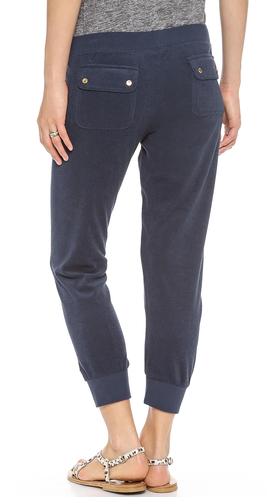Juicy couture Terry Slim Capri Pants in Blue | Lyst