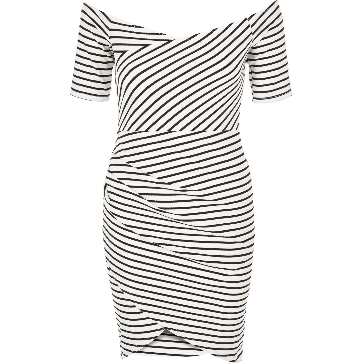 Womens Black stripe high neck bodycon dress River Island QwCymaFQ
