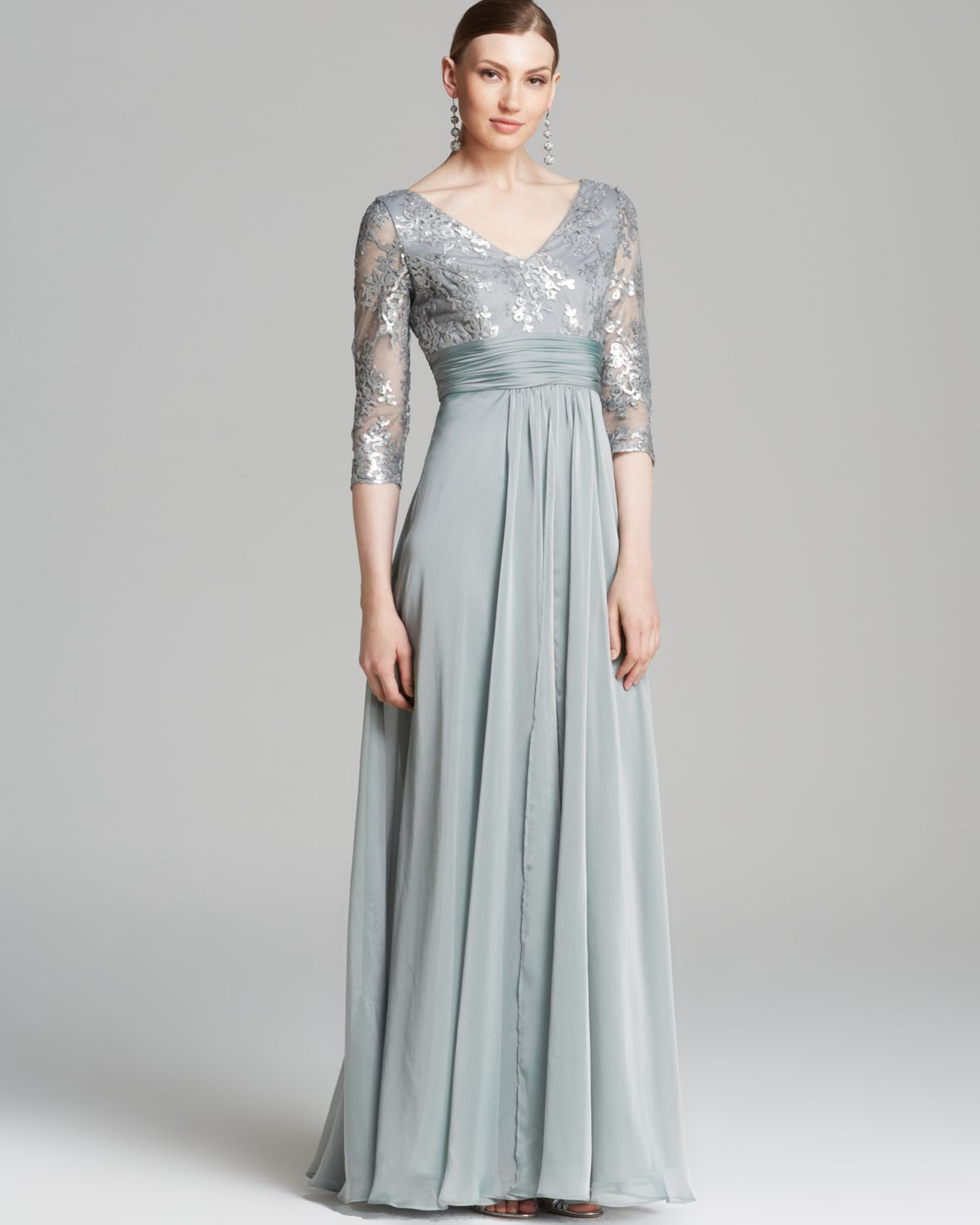 Lyst - Adrianna Papell Gown Three Quarter Sleeve V Neck Sequin ...