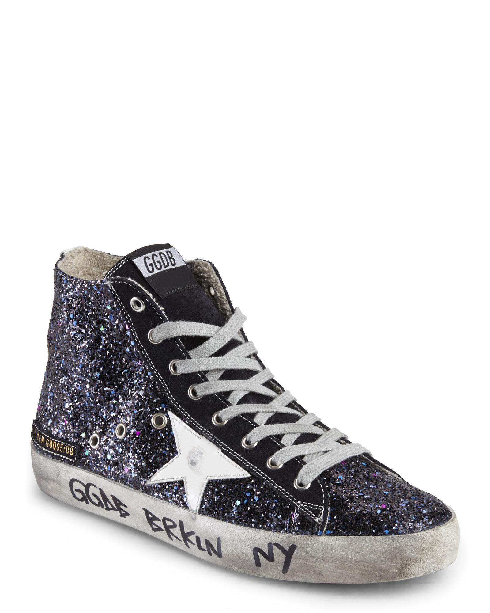 5d4ad6fee58c Golden Goose Deluxe Brand Black Francy Glitter High-Top Sneakers in ...