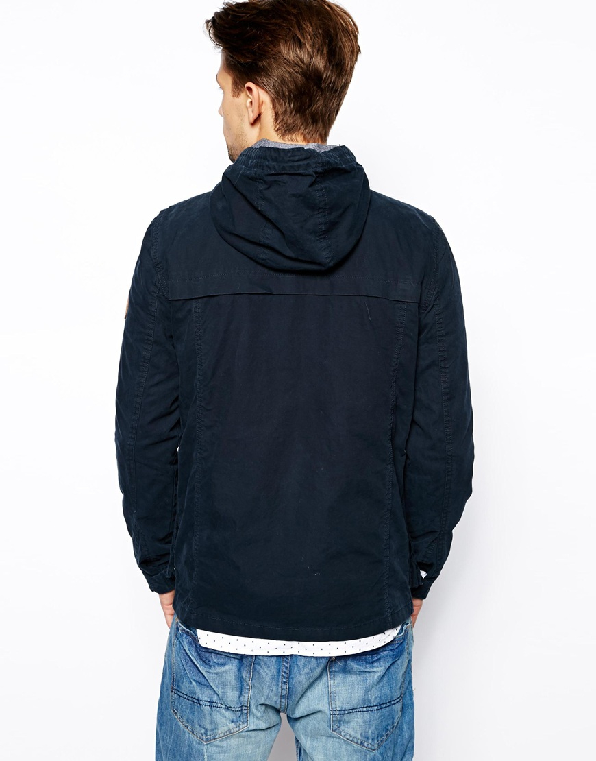 Pull bear lightweight jacket with hood in blue for men lyst for Bear river workwear shirts