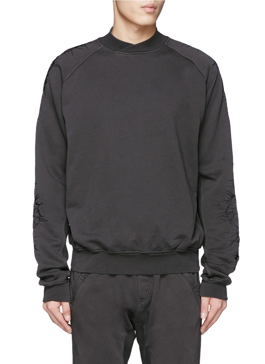 haider ackermann thorn embroidery sleeve sweatshirt in. Black Bedroom Furniture Sets. Home Design Ideas