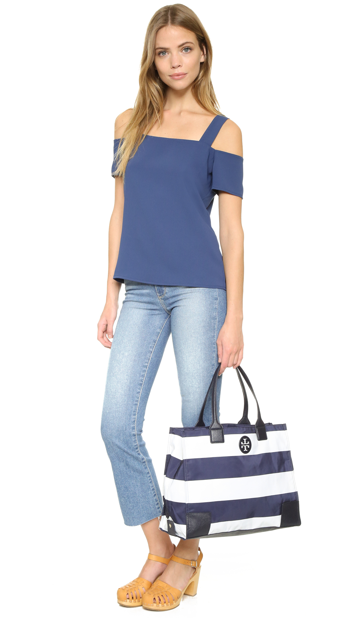 50a7ff281d6 Lyst - Tory Burch Packable Printed Ella Tote in Blue