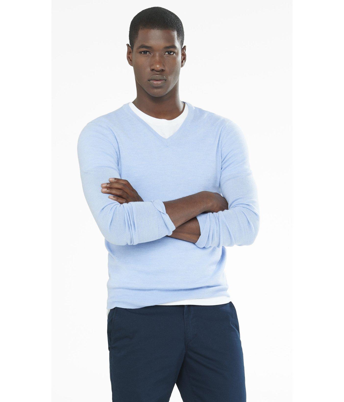 Express Merino Wool V-neck Sweater in Blue for Men | Lyst