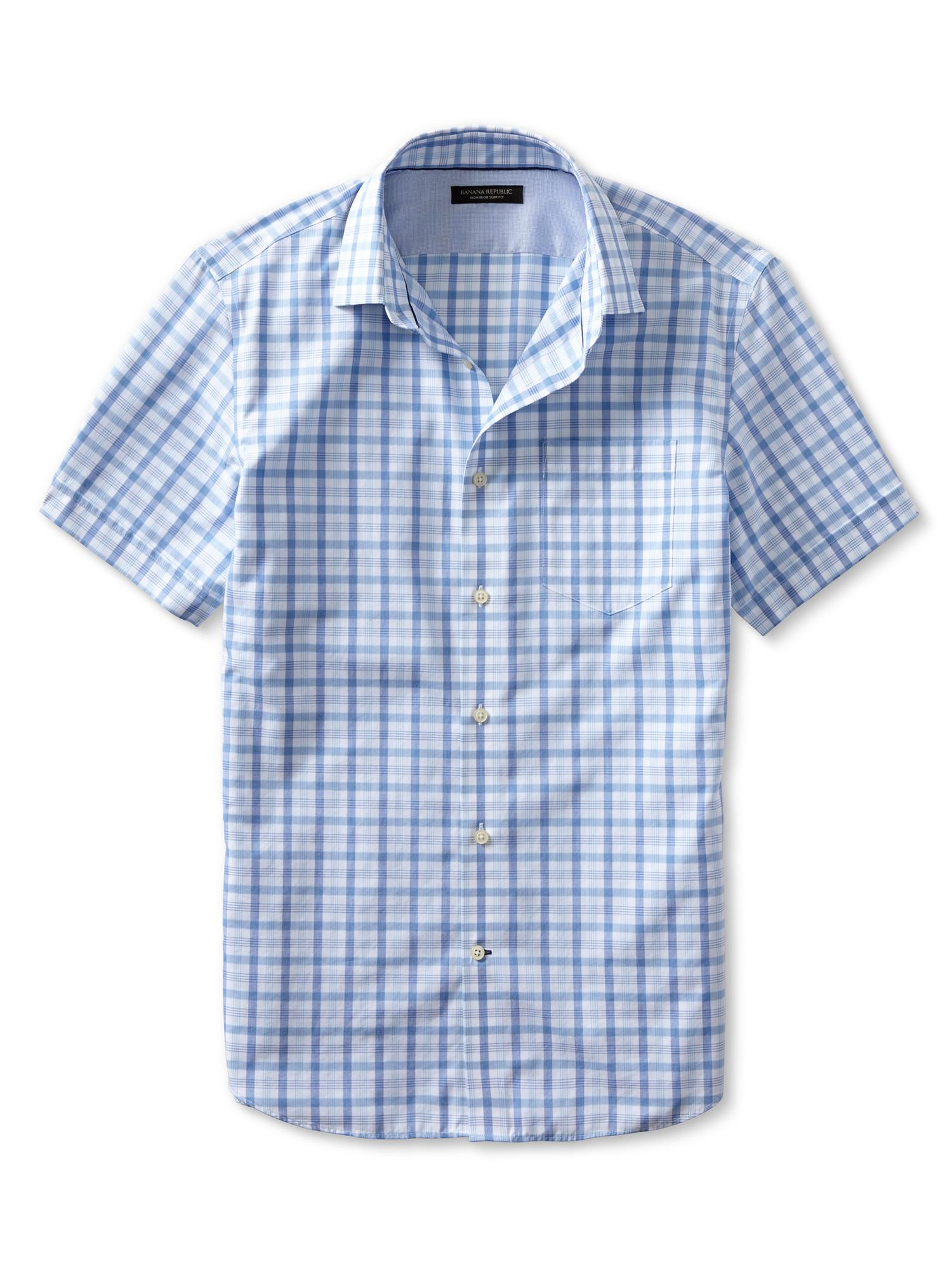 banana republic slim fit non iron plaid short sleeve shirt