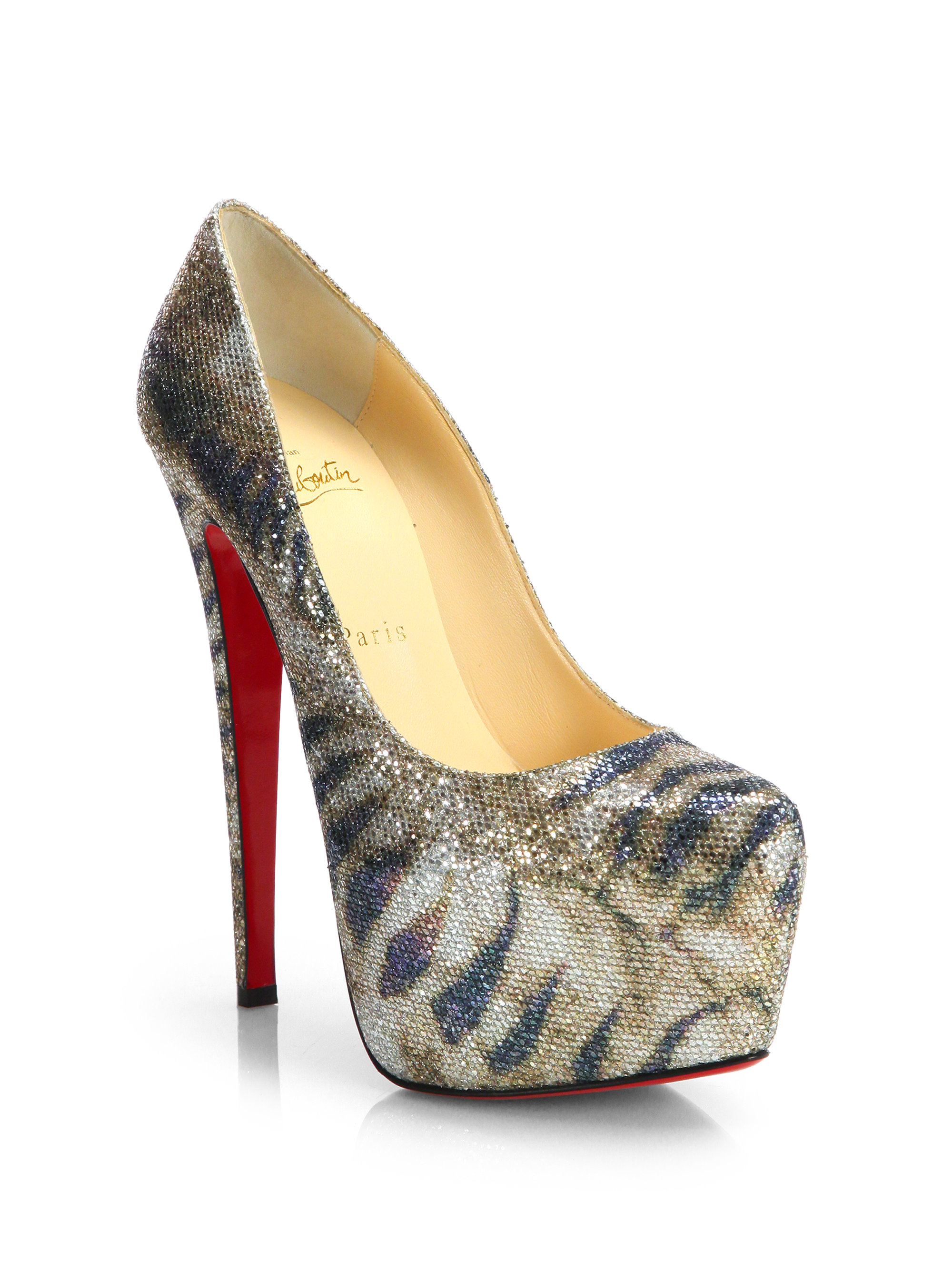 Christian louboutin Lady Peep Glitter Platform Pumps in Silver ...