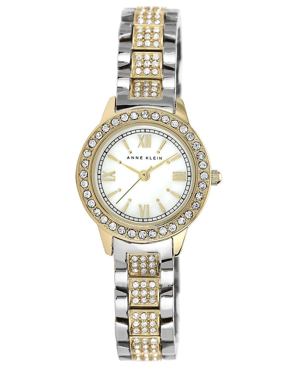 Anne klein ladies two tone and swarovski crystal bracelet watch in gold two tone lyst for Anne klein swarovski crystals