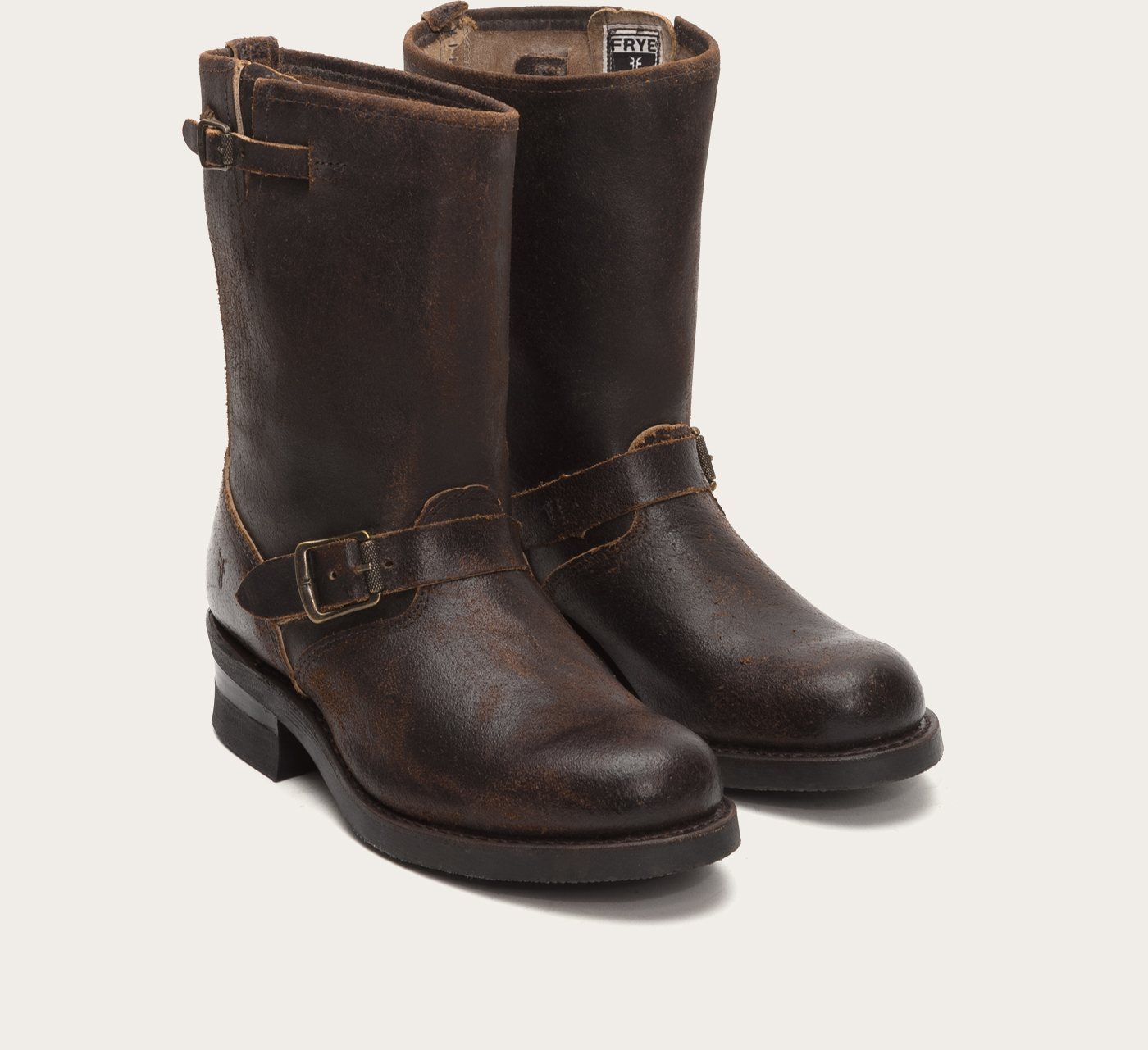 frye engineer 12r waxed suede boots in brown for lyst