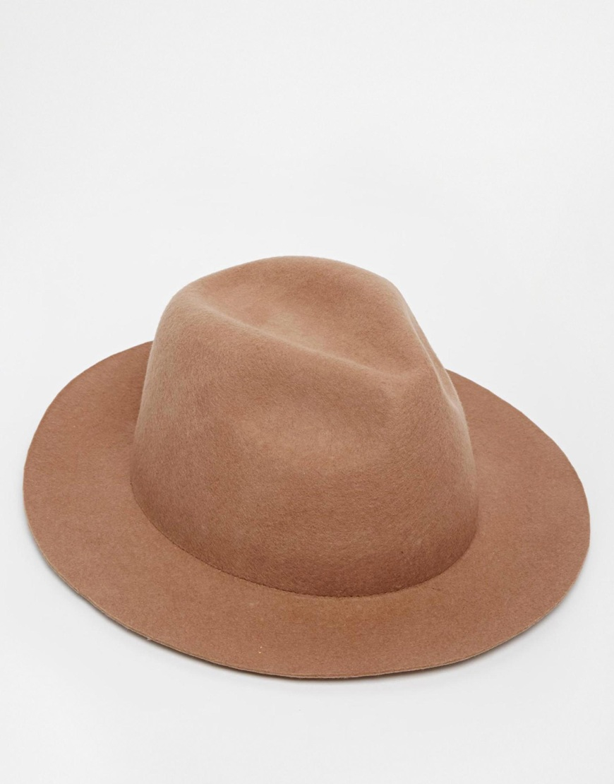 bf3895b8ec3341 ASOS Fedora Hat In Camel Felt With Unstructured Brim in Natural for ...