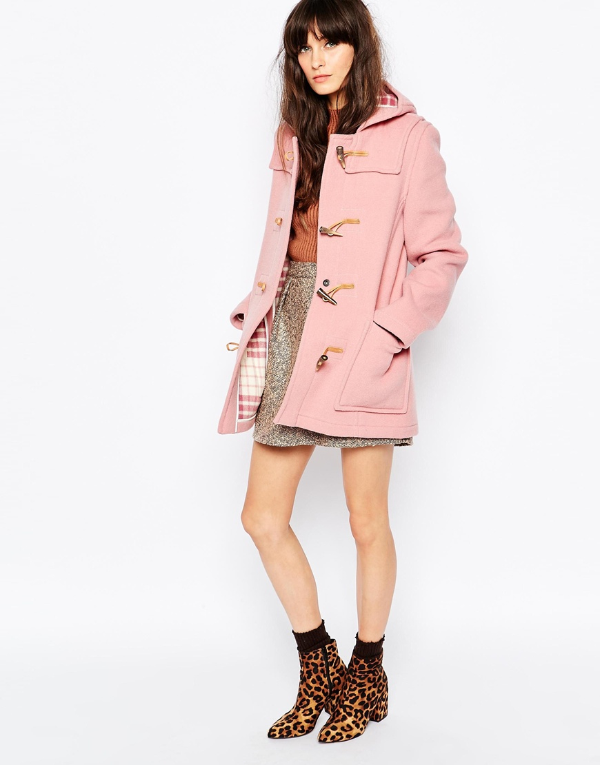 Gloverall Fitted Duffle Coat In Pale Pink in Pink   Lyst