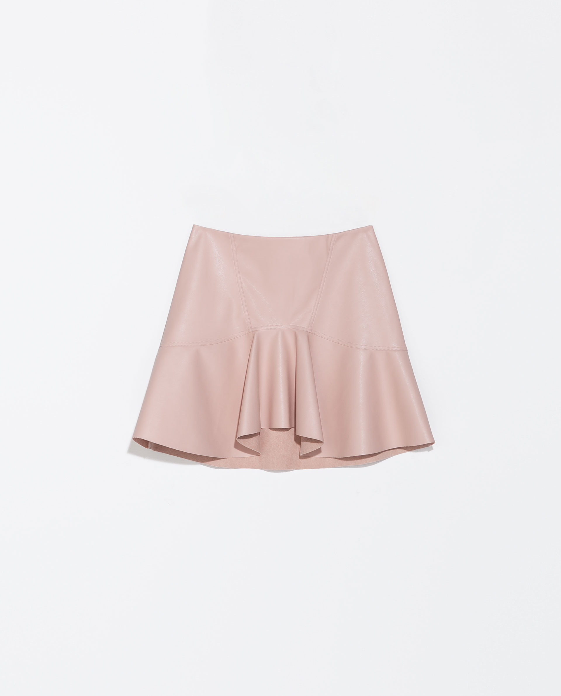 zara frilly faux leather skirt in pink lyst