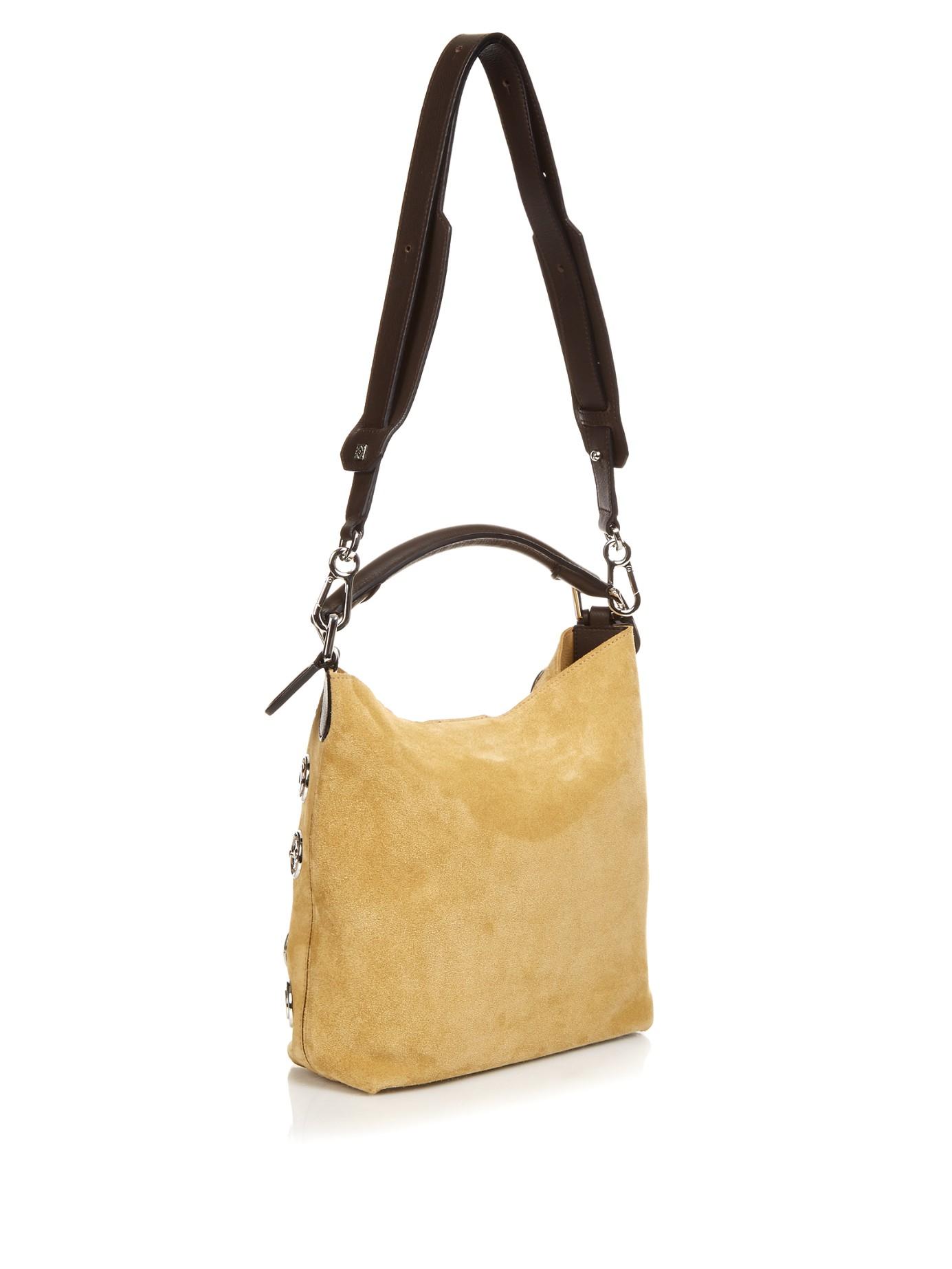 Loewe Hobo Suede Shoulder Bag in Natural | Lyst