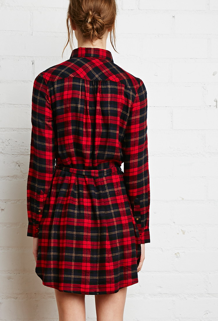 Forever 21 plaid flannel shirt dress in red red navy lyst for Red plaid dress shirt