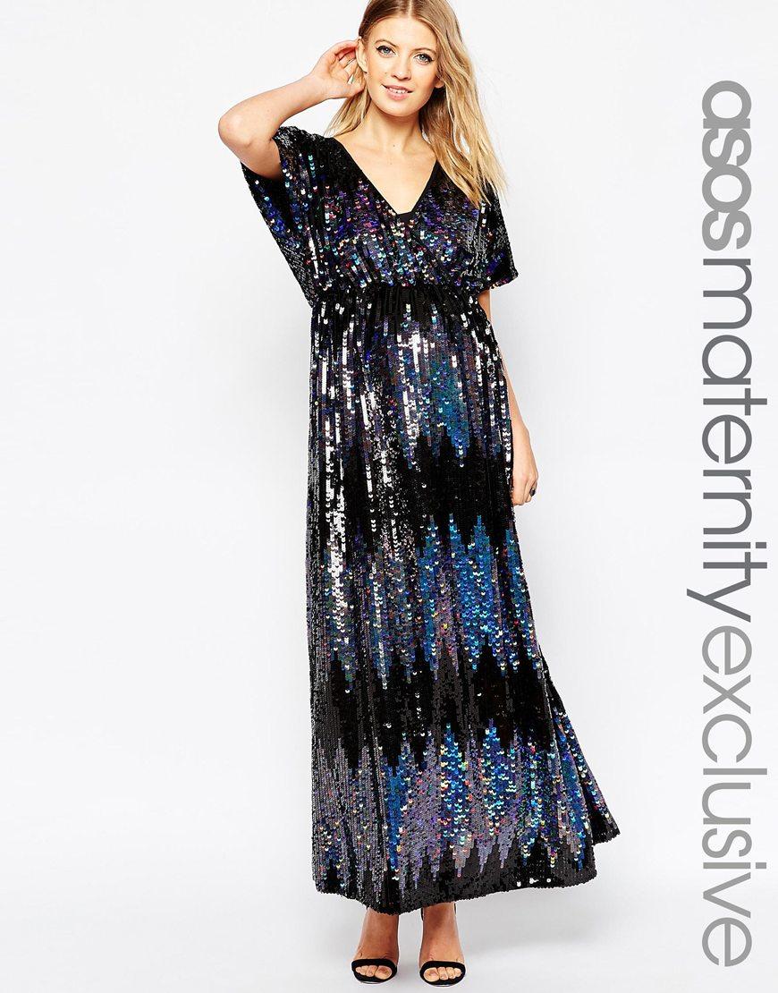 fccebb5e5d ASOS Maternity Sequin Kimono Maxi Dress in Black - Lyst