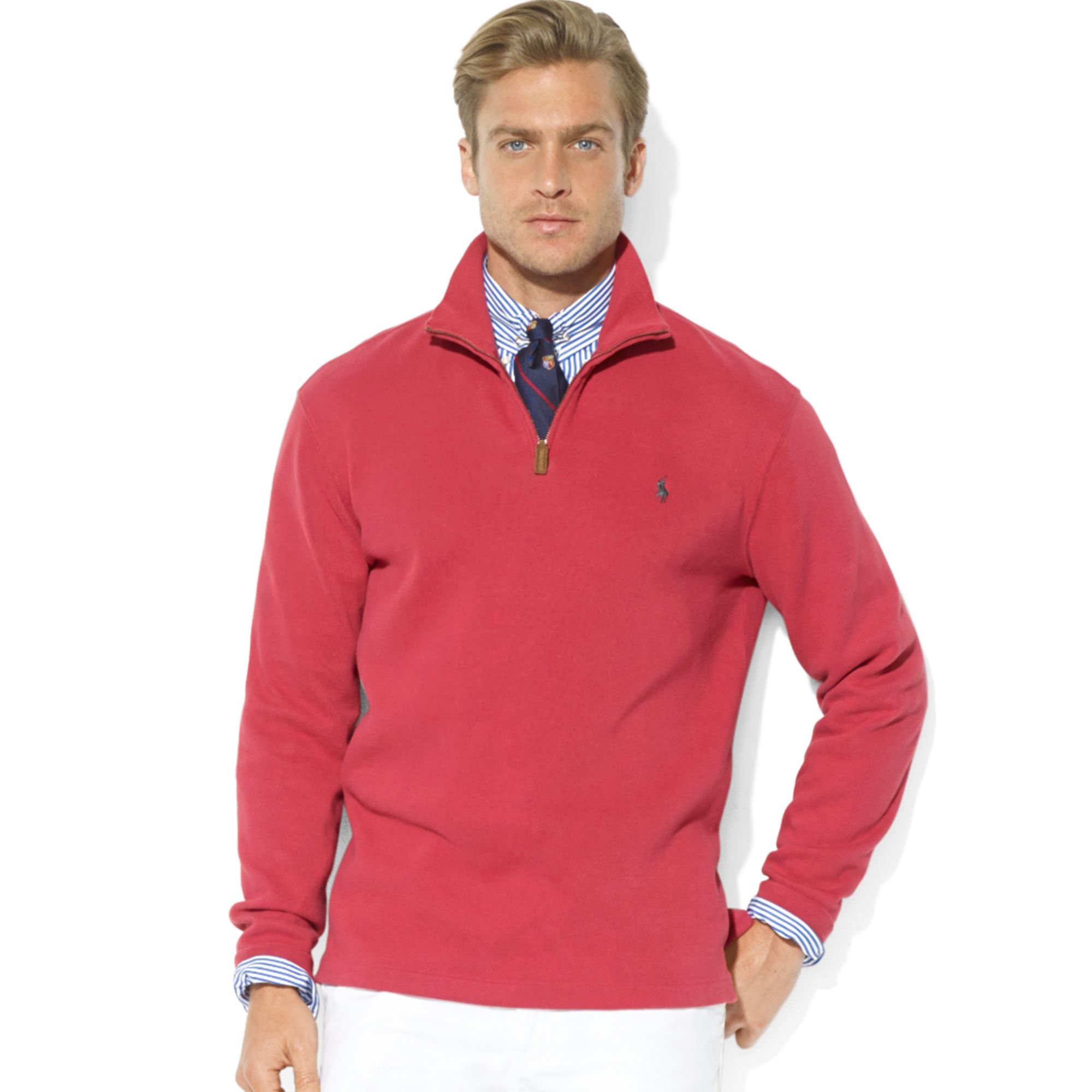 Ralph lauren Polo French-Rib Half-Zip Mock Neck Pullover in Red ...