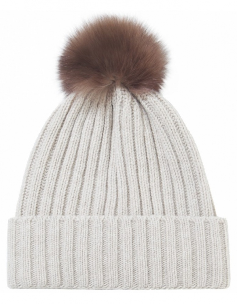 a01c81b05f4c5 Helene berman Fur Pom Pom Beanie Hat in Natural