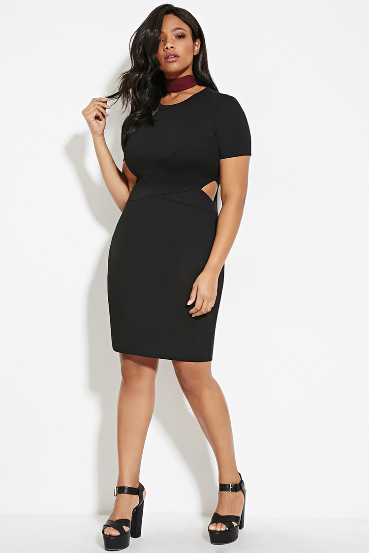 Forever 21 Plus Size Cutout Bodycon Dress in Black - Lyst