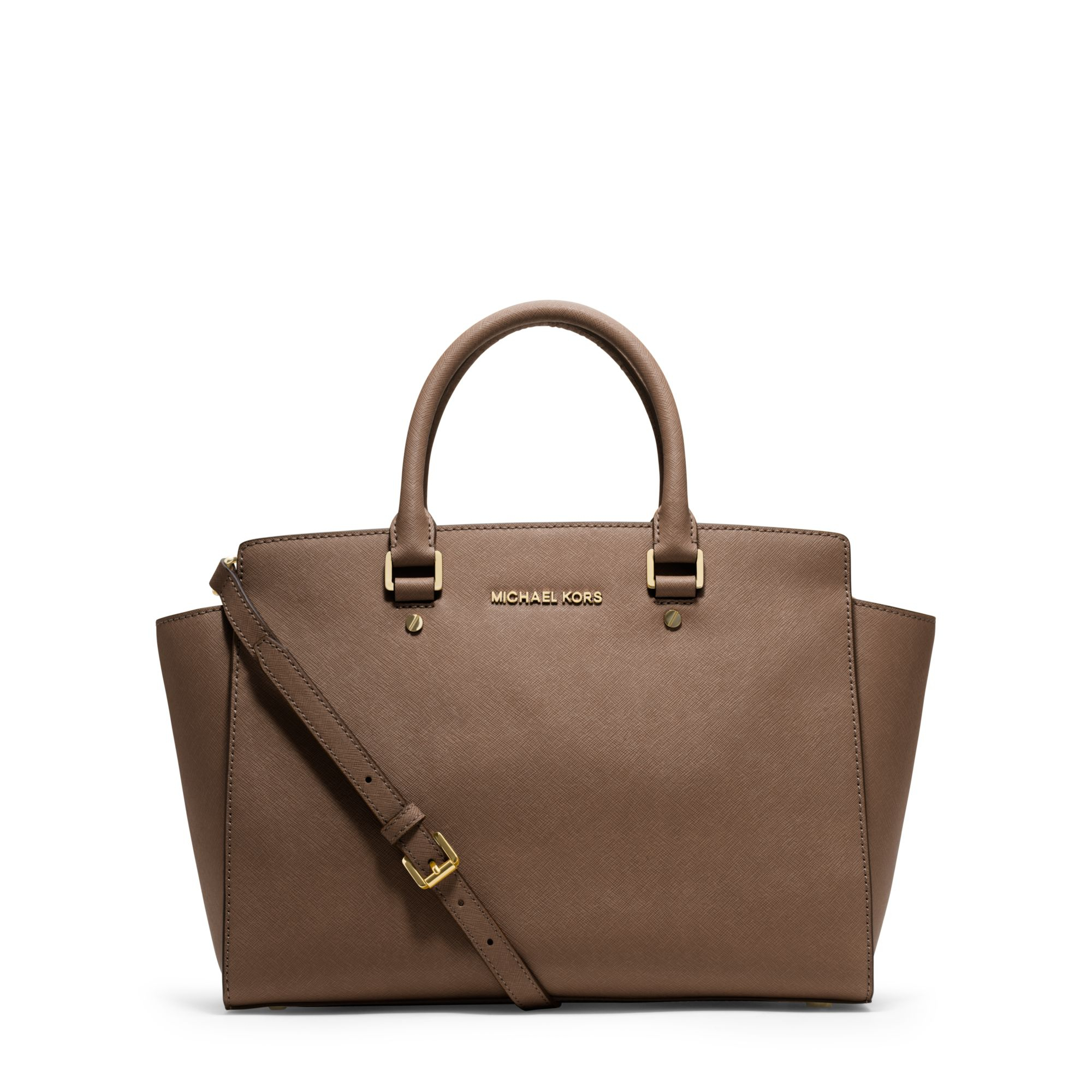 michael kors selma large saffiano leather satchel in brown dark dune lyst. Black Bedroom Furniture Sets. Home Design Ideas