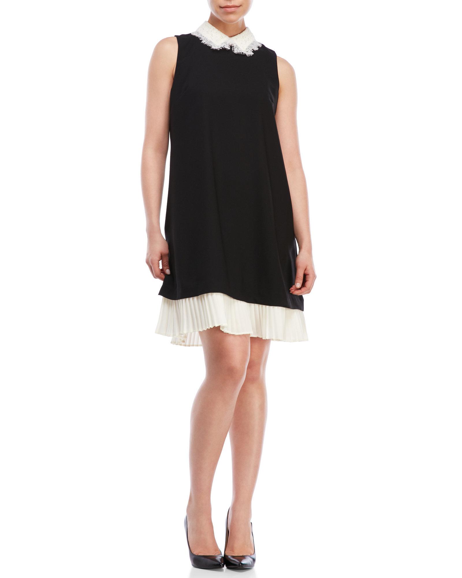 828b6aeef4d76 Nanette Lepore Pleated Hem Shift Dress in Black - Lyst