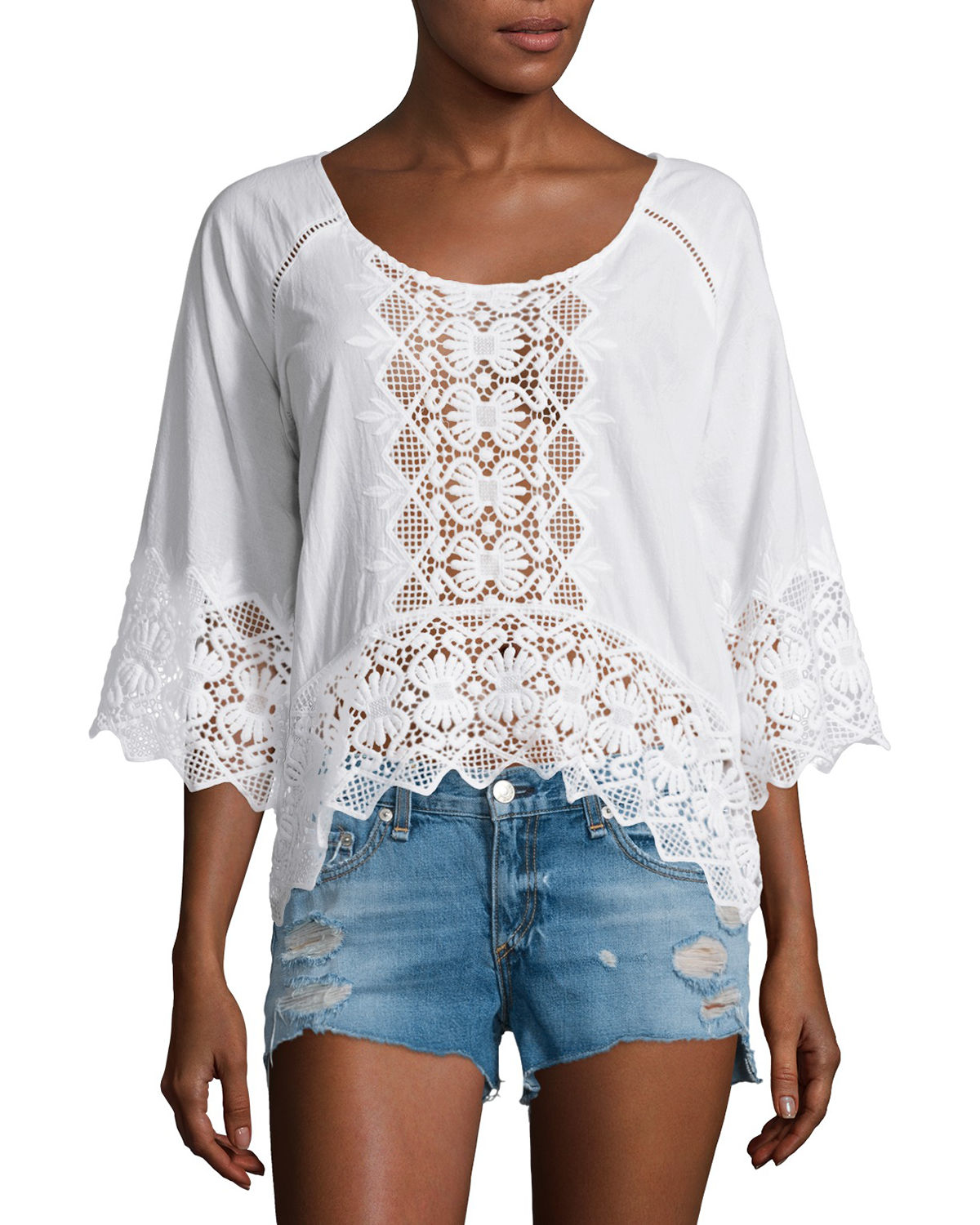 90f726af7106 Lyst - Nightcap Lace-inset Half-sleeve Blouse in White