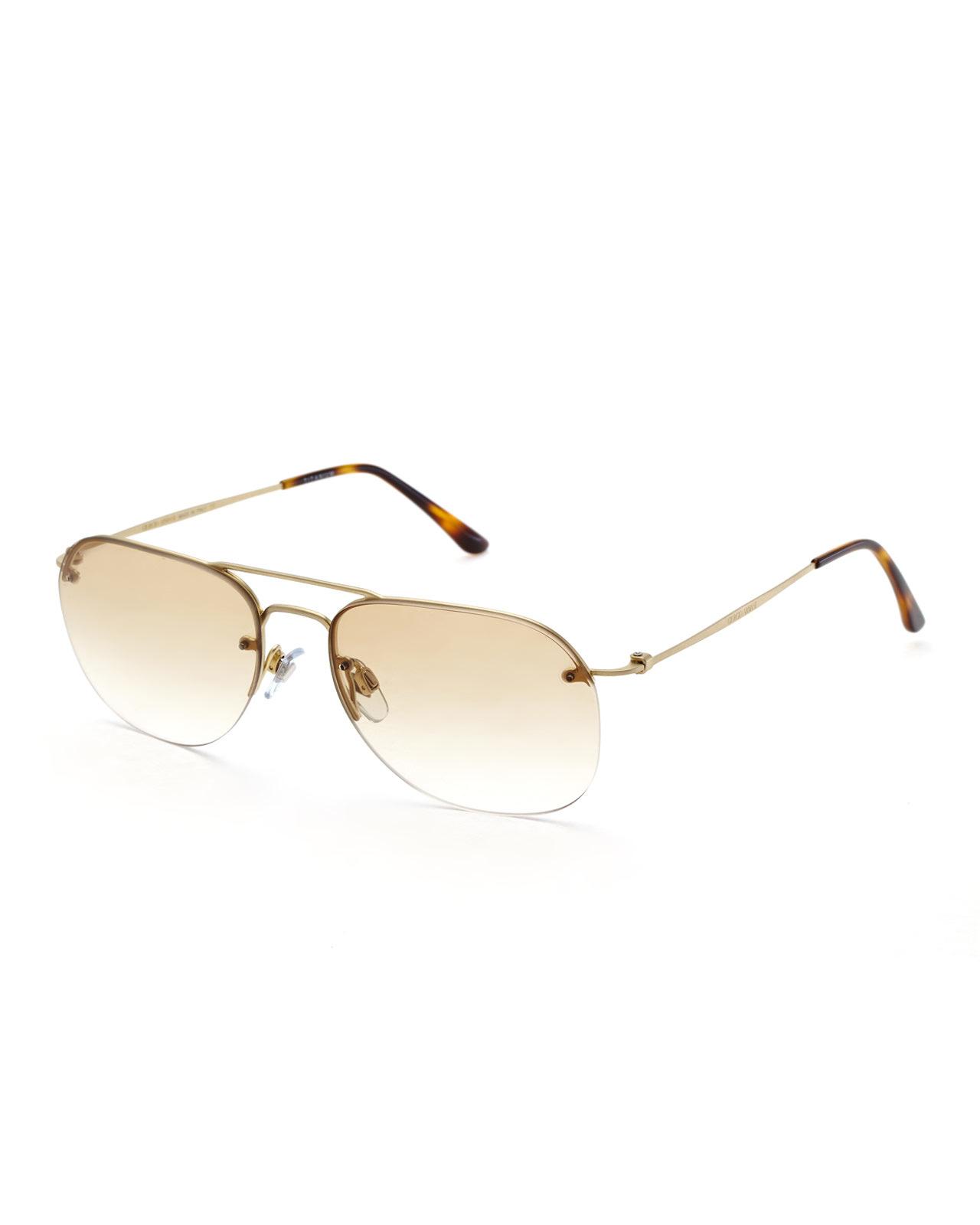 9bd66a0b35a3b Giorgio Armani Ar6004 Gold-Tone Rimless Aviator Sunglasses in ...