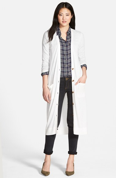 Halogen Cotton Blend Duster Cardigan in White | Lyst