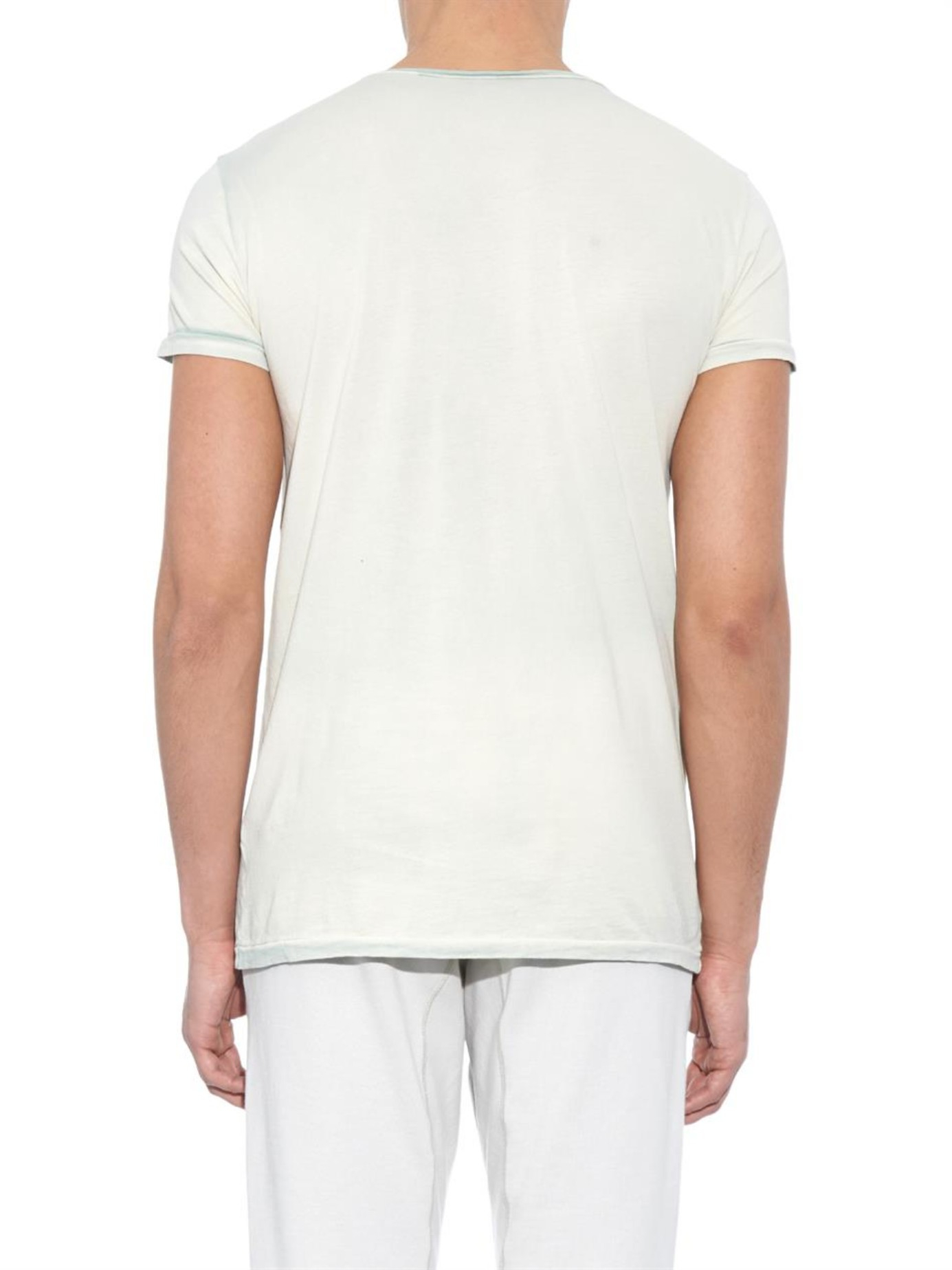 Bottega veneta crew neck cotton jersey t shirt in blue for for Bottega veneta t shirt