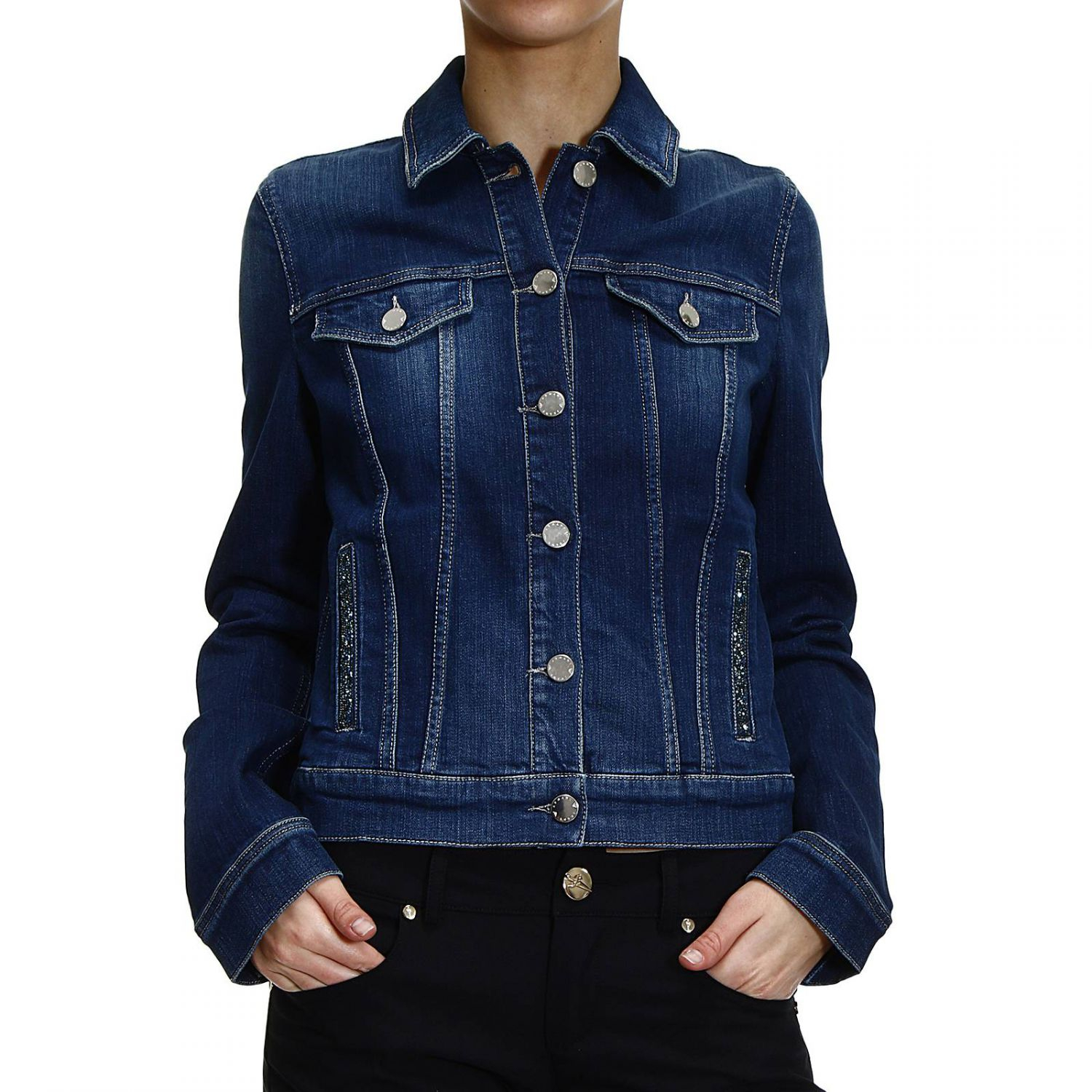 1d396d482c Strass Denim Jacket Armani Blue With Lyst Jeans In xRIwHqA