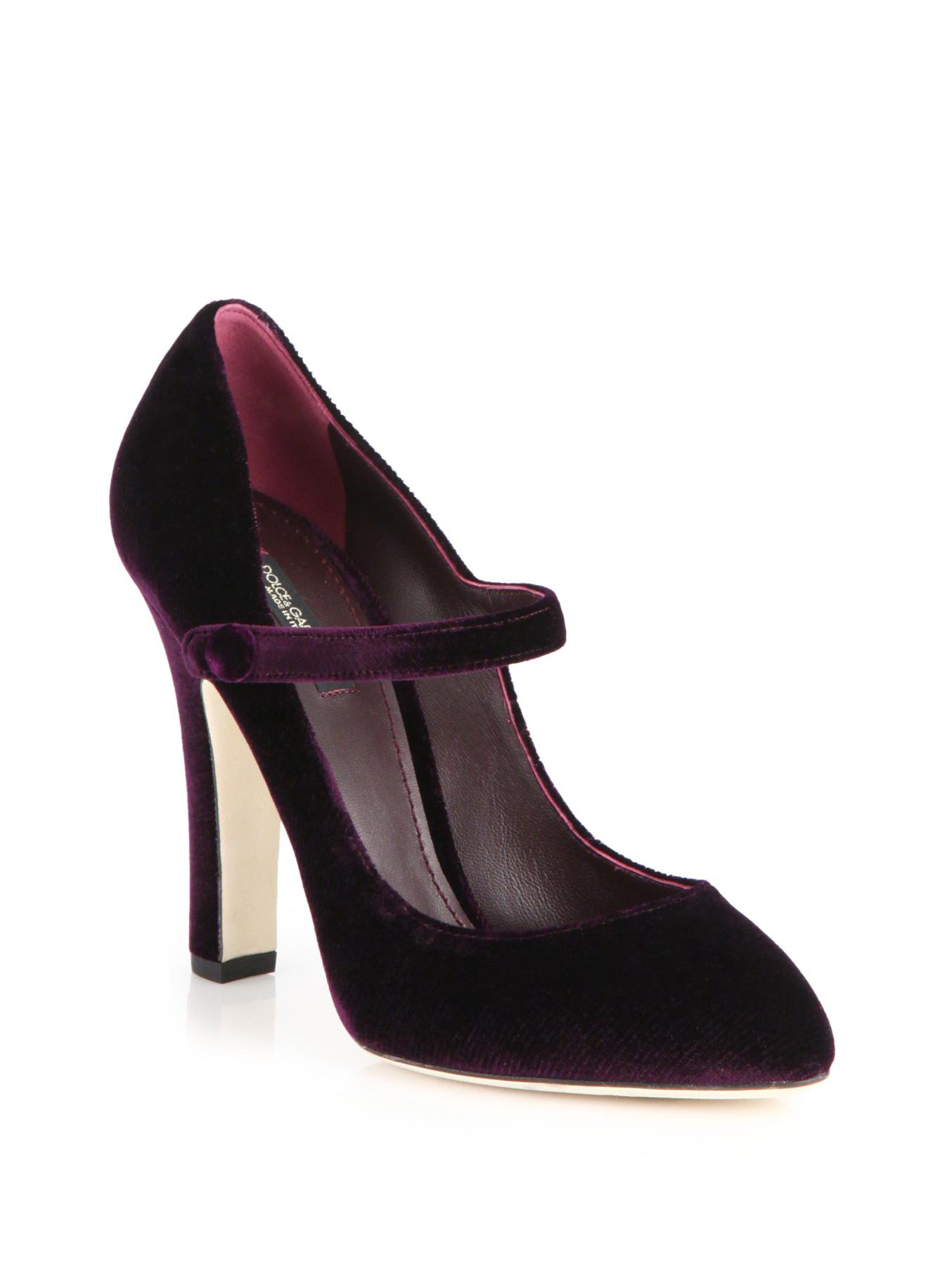 Dolce & gabbana Velvet Mary Jane Pumps in Purple | Lyst