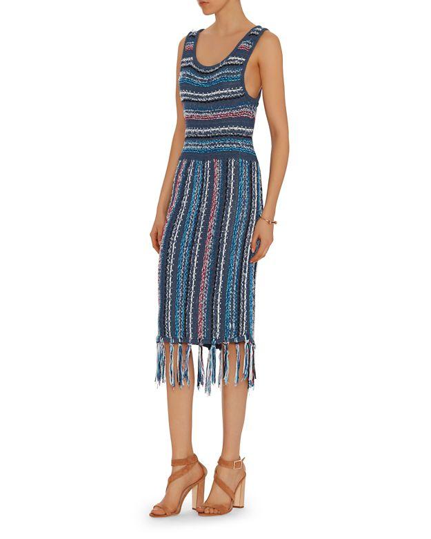 10 Crosby Derek Lam Tassel Hem Knit Dress In Blue Lyst