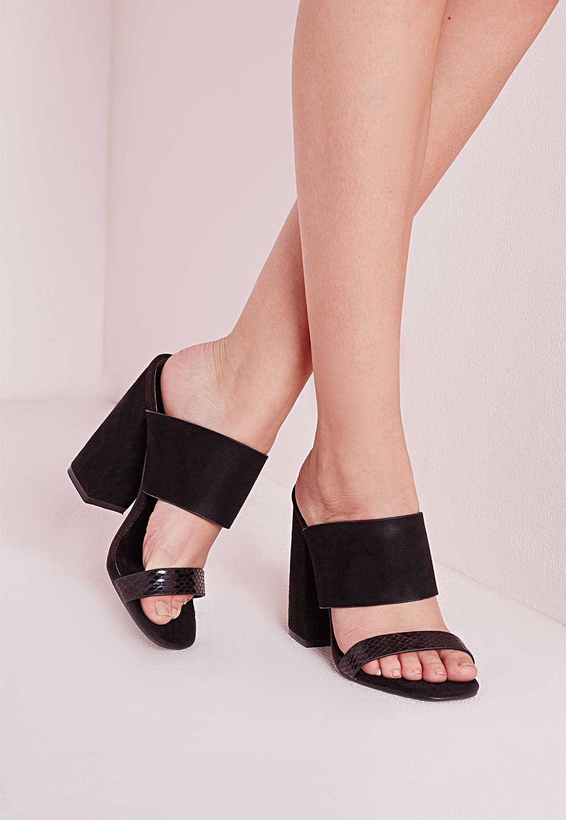 eb91f57154e Lyst - Missguided Double Strap Block Heel Mules Black in Black