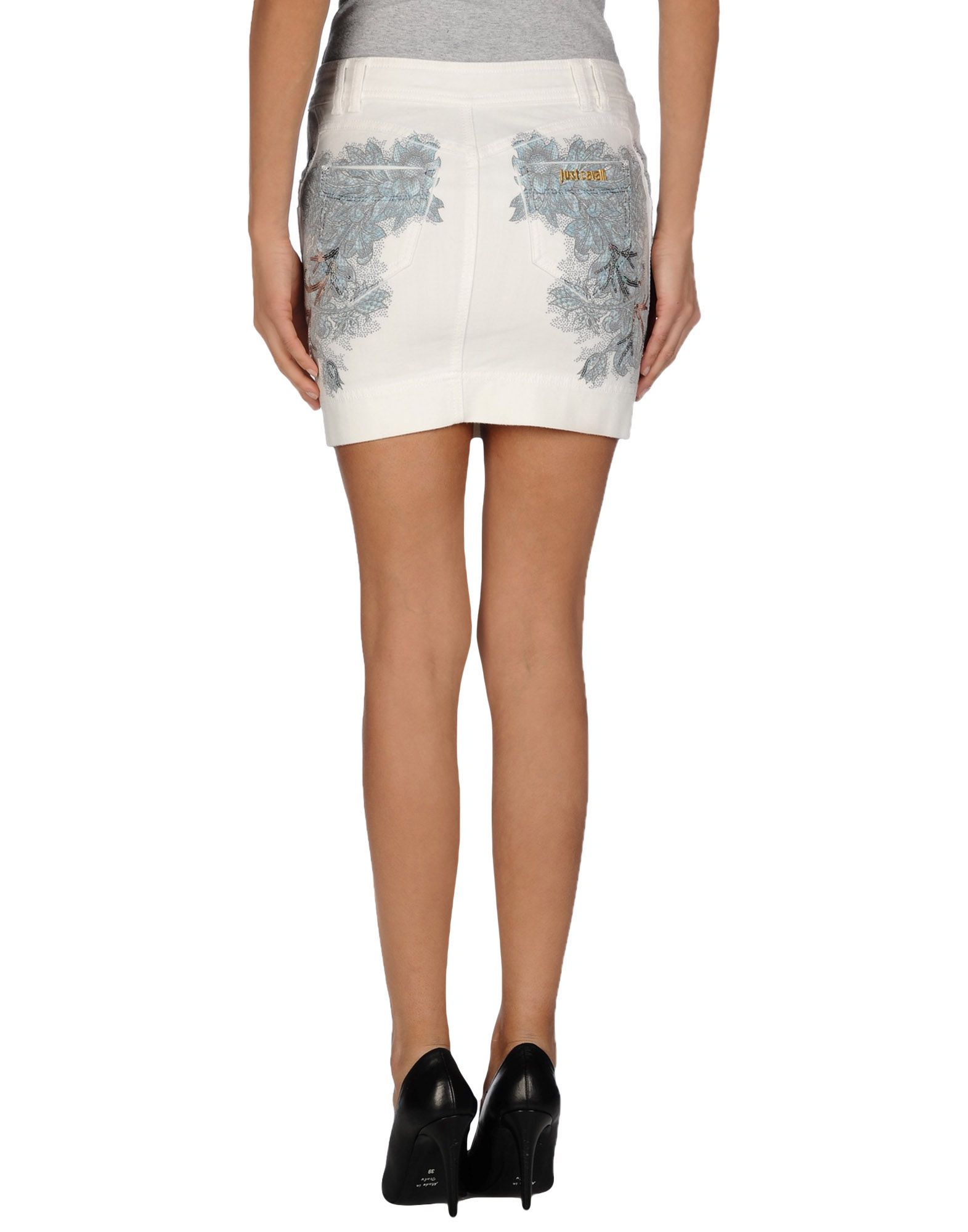 just cavalli denim skirt in white lyst