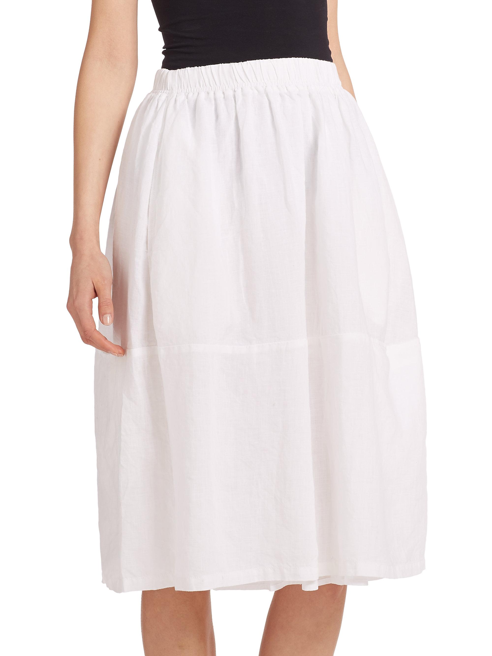 Eileen fisher Linen Skirt in White | Lyst