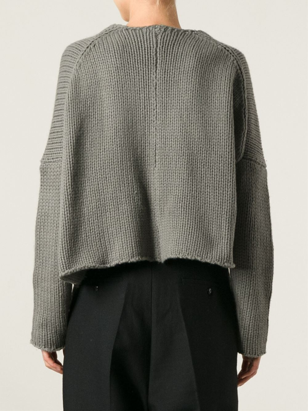 Rundholz Boxy Cropped Sweater in Green | Lyst