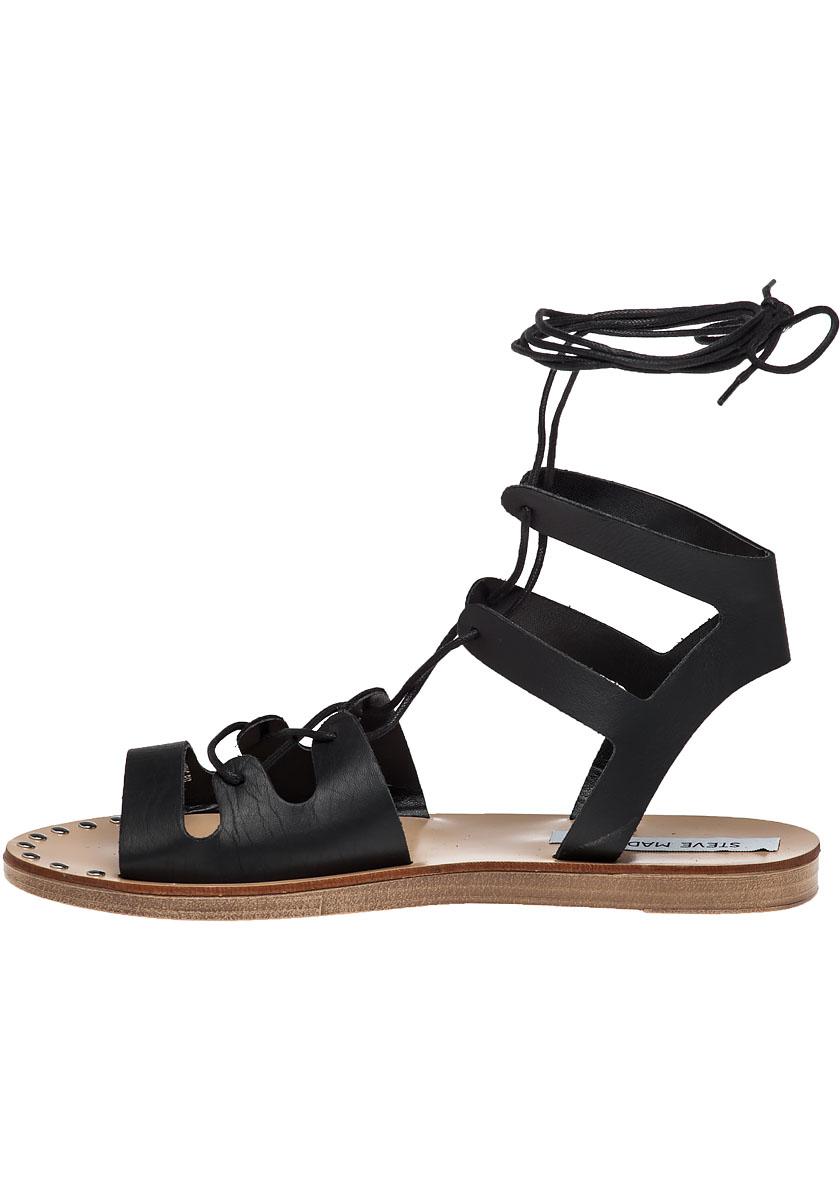steve madden rella leather gladiator sandals in black lyst. Black Bedroom Furniture Sets. Home Design Ideas