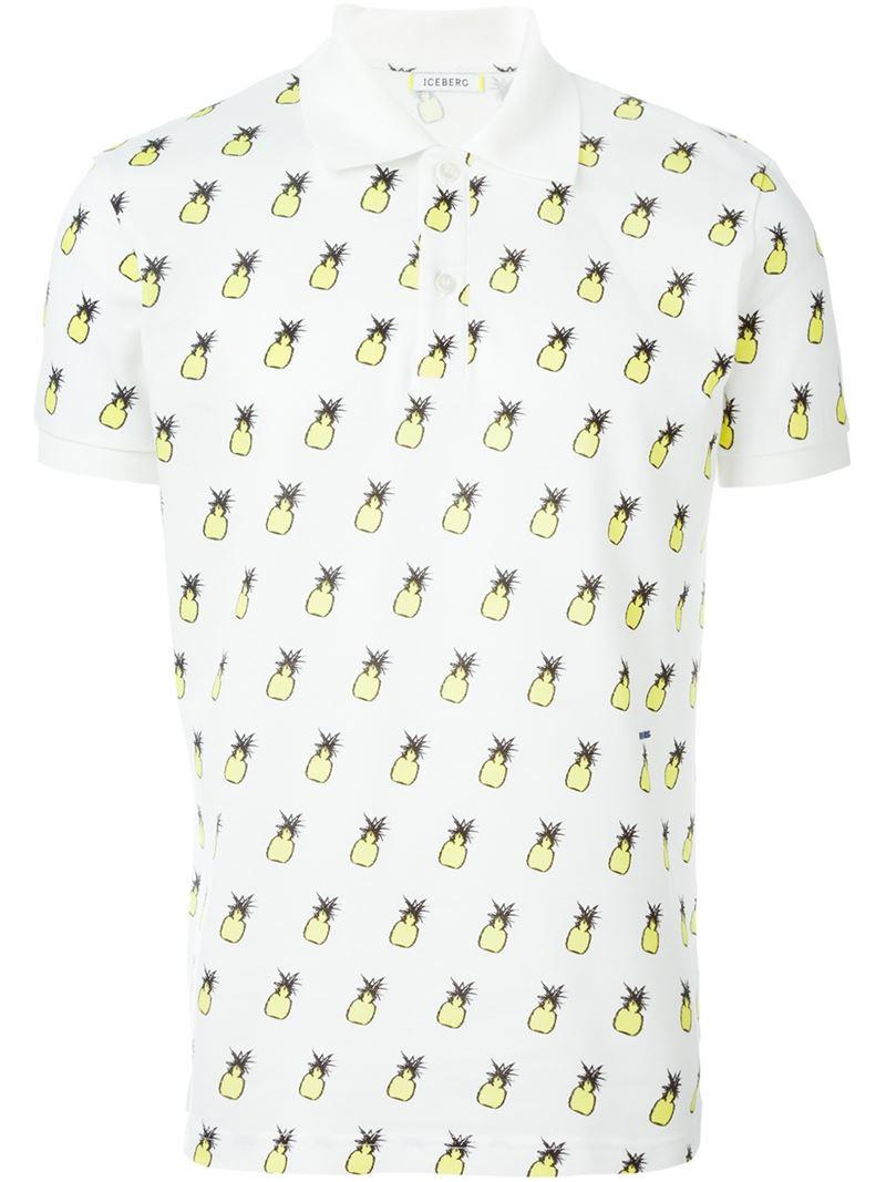 Lyst Iceberg Pineapple Print Polo Shirt In White For Men