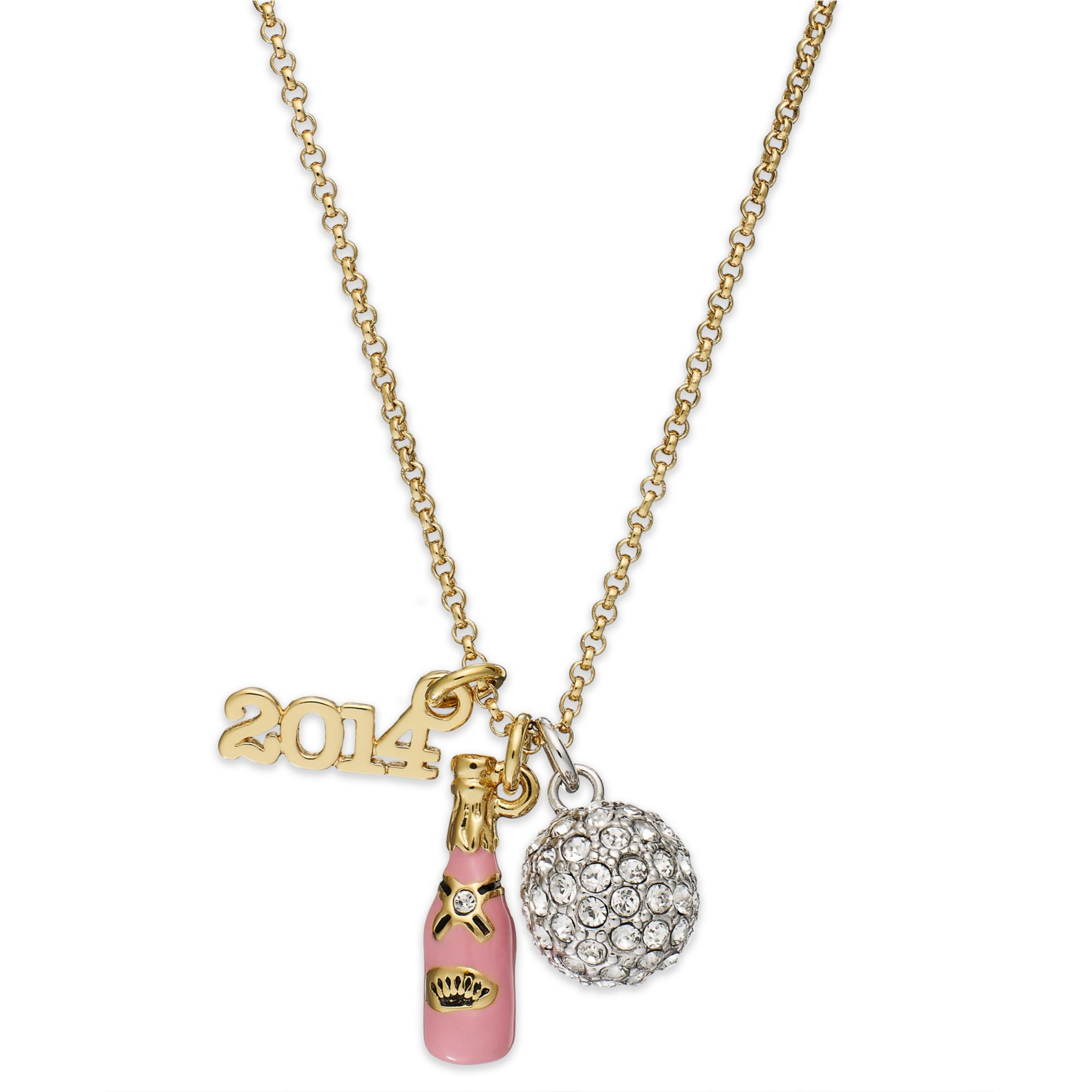 juicy couture goldtone new years charm necklace in gold lyst
