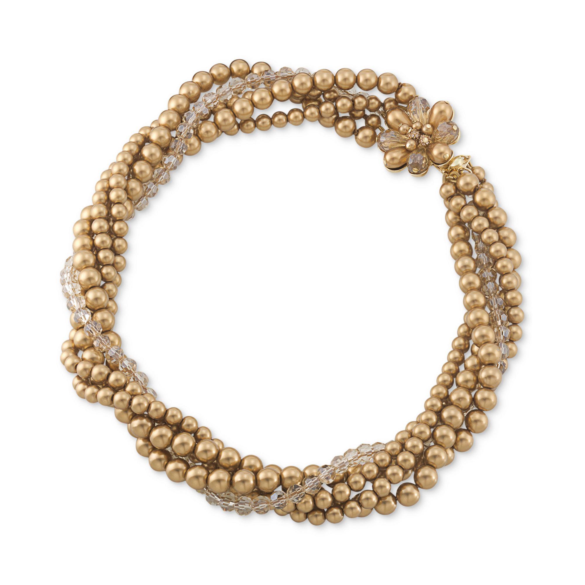 Torsade Necklace: Carolee Goldtone Glass Bead Torsade Statement Necklace In