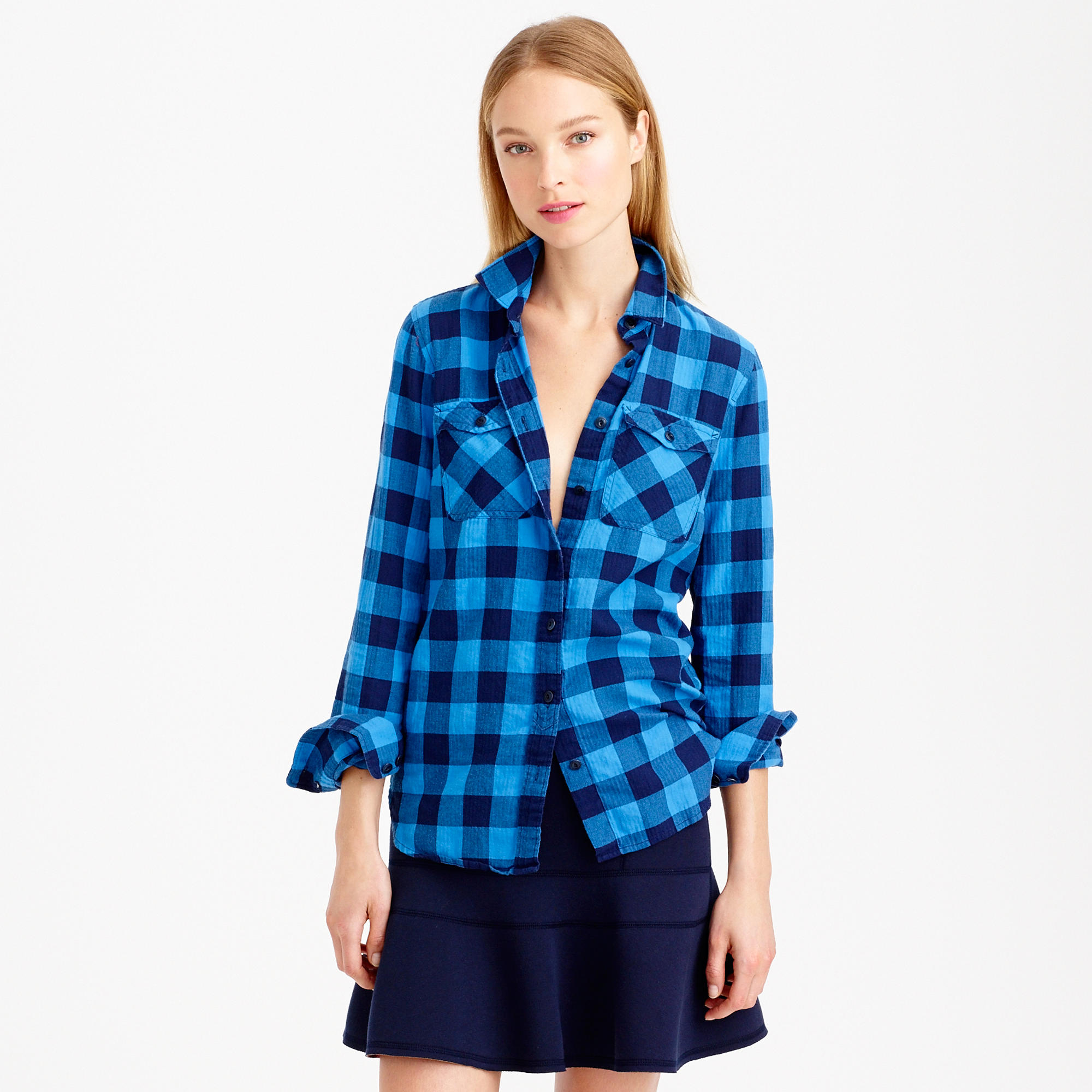 Lyst - J.Crew Flannel Shirt In Brilliant Sea Check in Blue d974a2b15