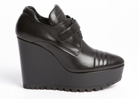 Prada Black Leather Wedge Ankle Boots in Black - Lyst