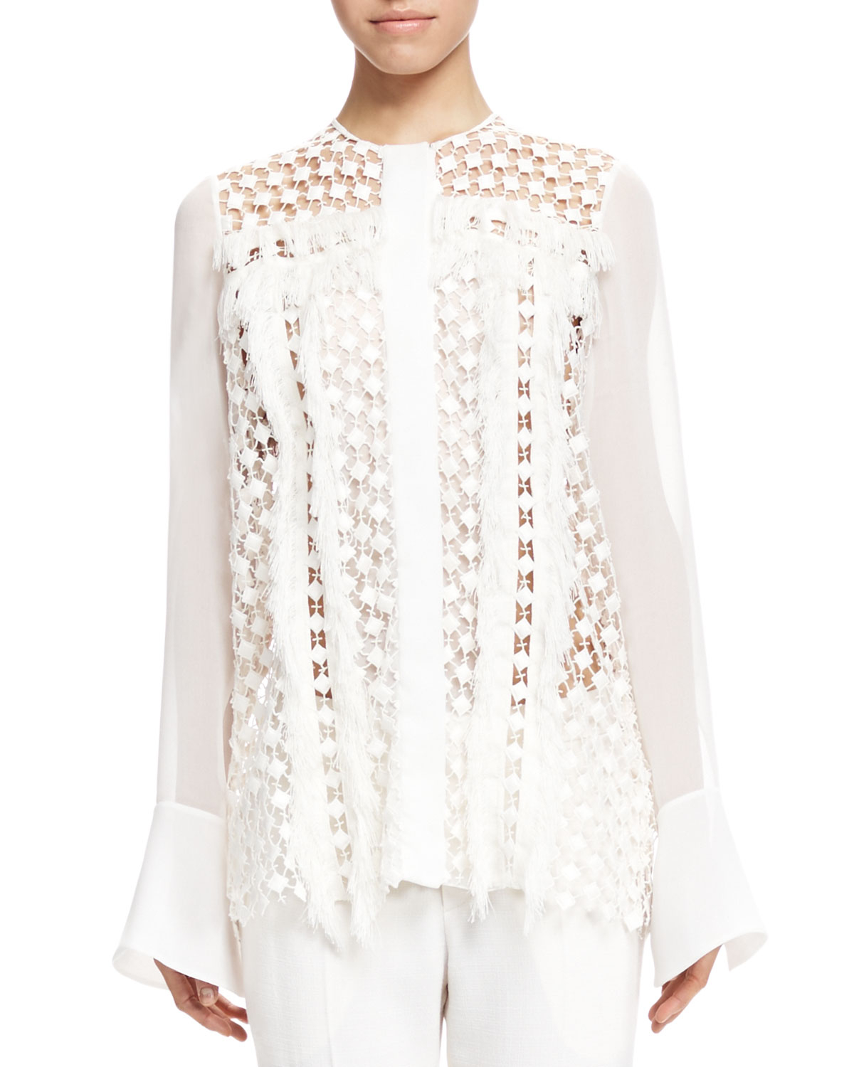 Chloé Fringe-trim Lace Blouse in White | Lyst