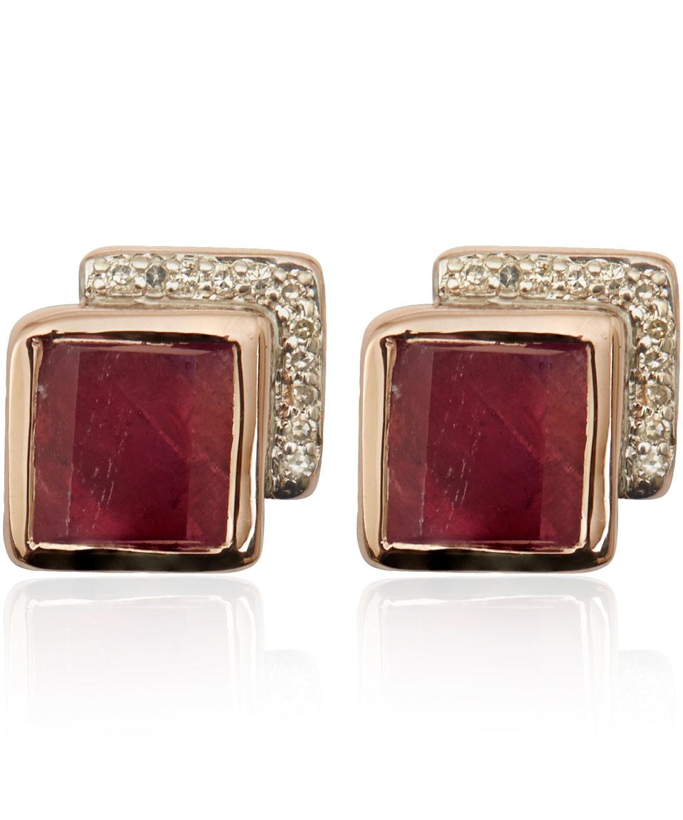 Baja Precious Ruby Cocktail Earrings, Rose Gold Vermeil on Silver Monica Vinader